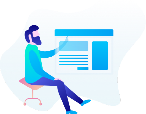 vector image with someone sitting touching a screen
